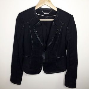 WHBM black leather trim blazer